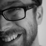 headshot, black and white, smile, glasses